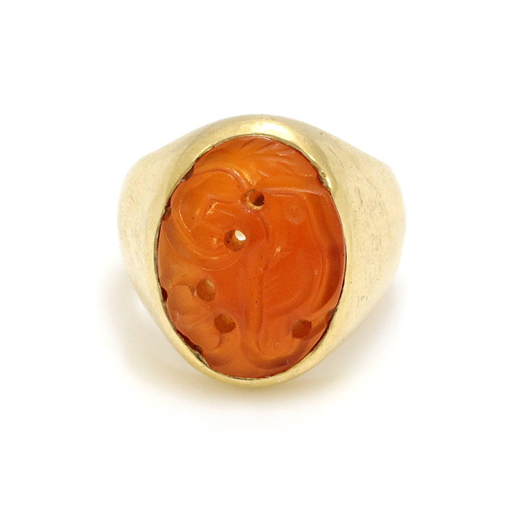 14k Gold Carved Carnelian Ring