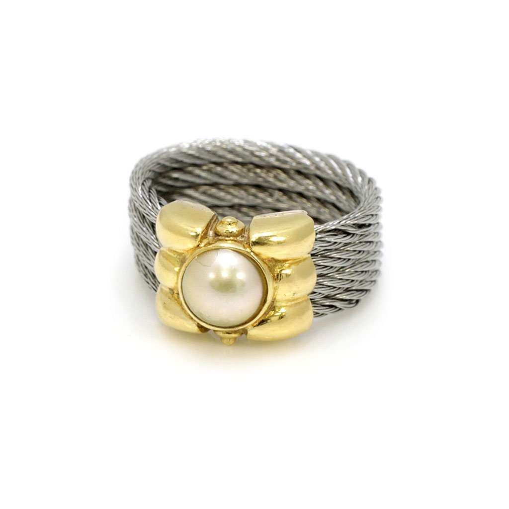 Pearl 18k Gold Steel Cable Ring