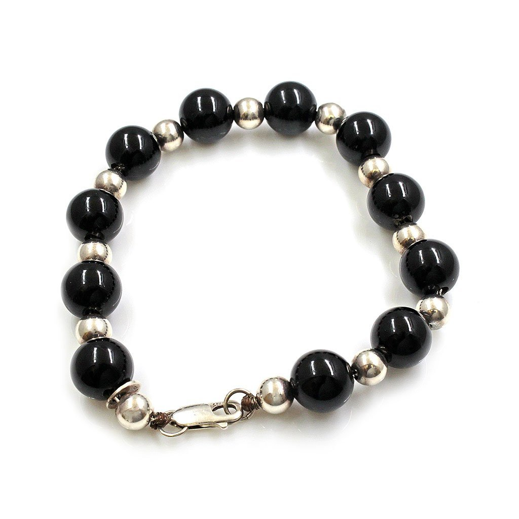 Tiffany & Co. Black Onyx Bead Silver Bracelet