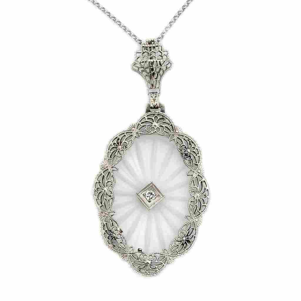 Art Deco Diamond Crystal 14k Gold Pendant with Chain