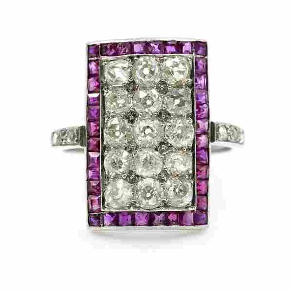 Art Deco Ruby Diamond Platinum Ring
