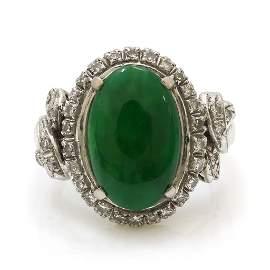 Natural Jadeite Jade Diamond 18k Gold Ring, GIA