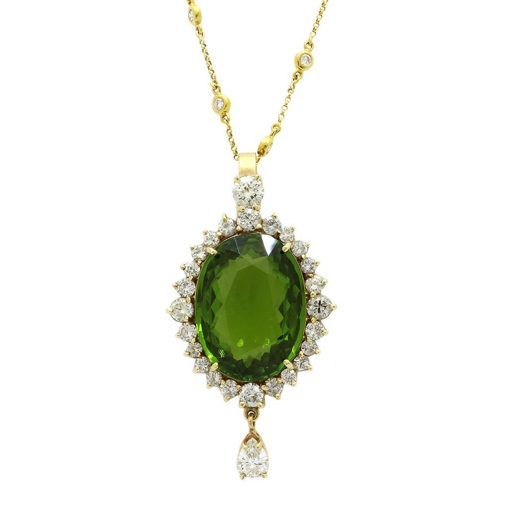 Peridot with GIA & Diamonds by the Yard Chain Necklace