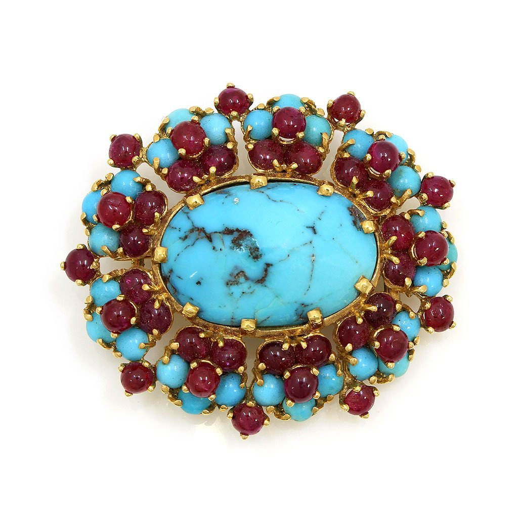 French, Cabochon Ruby Turquoise 18k Gold Brooch