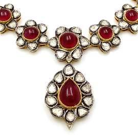 Cabochon Ruby Rose Cut Diamond Necklace