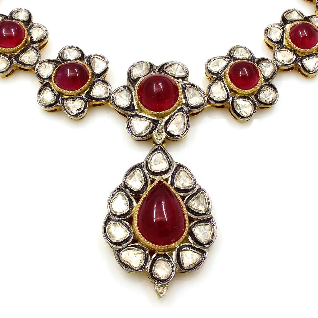 Cabochon Ruby Rose Cut Diamond Necklace