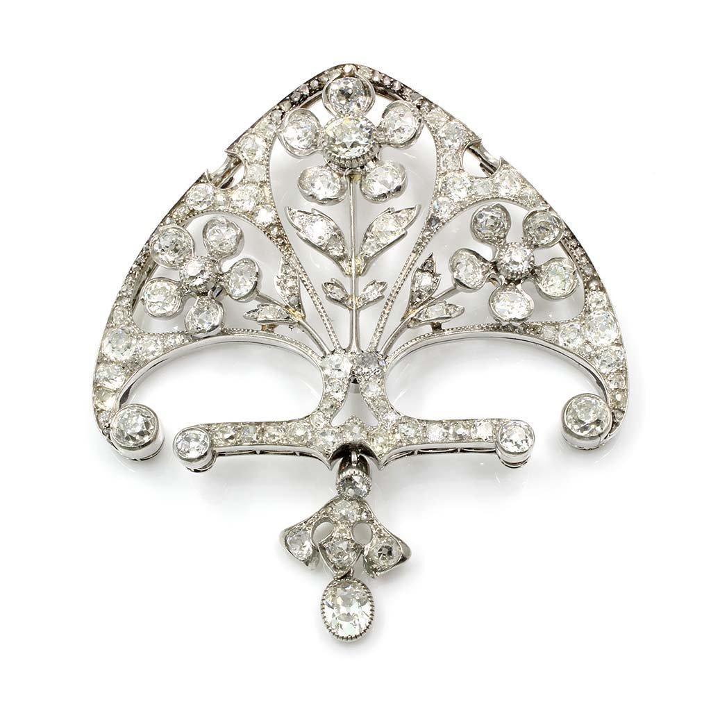 Art Nouveau Diamond Platinum Pendant