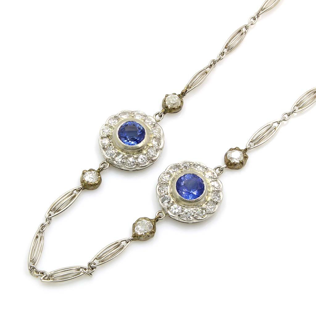 Art Deco Diamond Sapphire Platinum Necklace