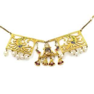 Gem Set Pearl 14k Gold Necklace