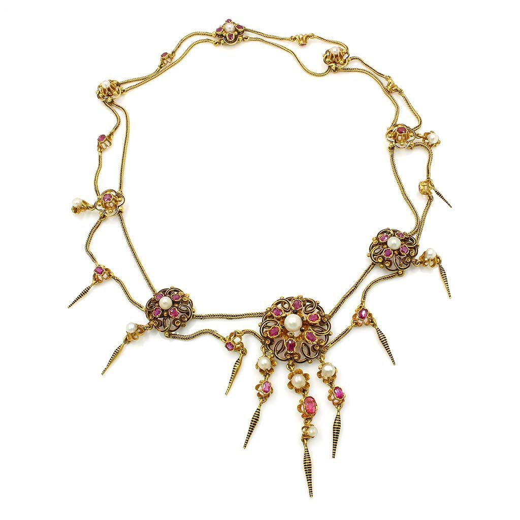 French Victorian Ruby Pearl Gold Necklace