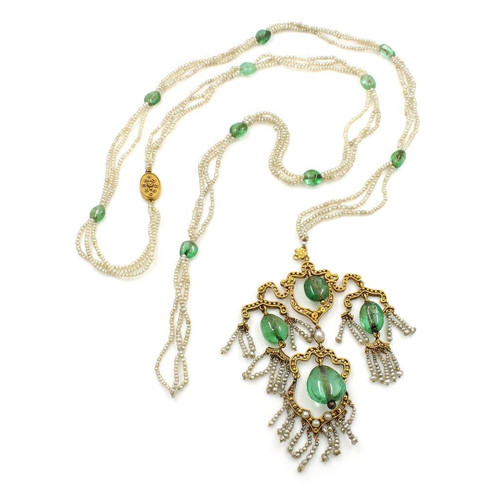 Emerald Pearl Gold Sautoir Necklace