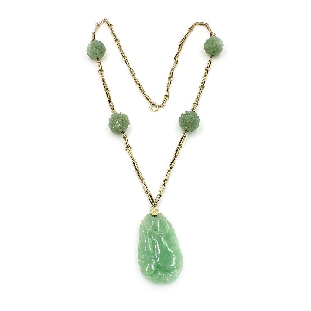 Art Deco, Carved Jade in 14k Gold Necklace