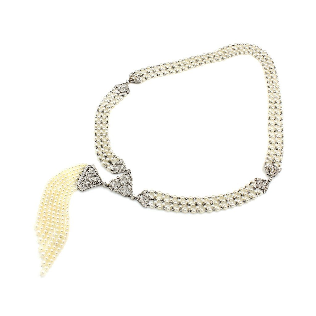 Art Deco, Oriental Pearl & Diamond Sautoir