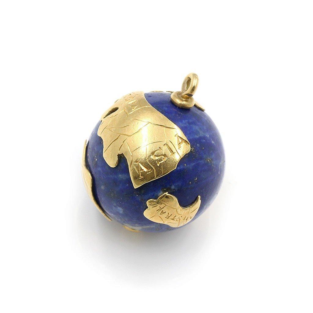 14k Gold Lapis Lazuli Globe Pendant