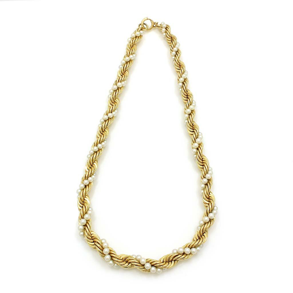 Twisted Pearl and 14k Gold Necklace
