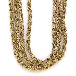 4-Strand 14k Yellow Gold Chain Necklace