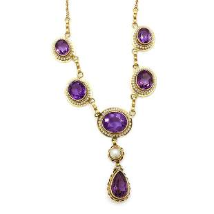 Amethyst Pearl 14k Gold Necklace