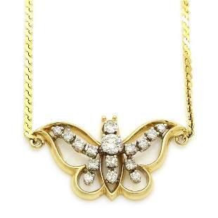 Diamond 14k Gold Butterfly Necklace