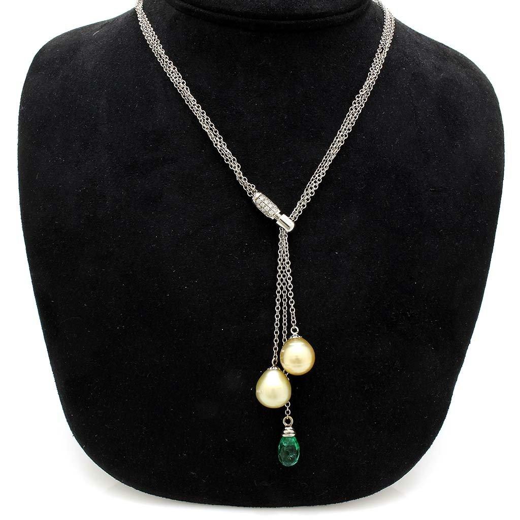 Pearl Emerald Diamond 18k Gold Slide Necklace