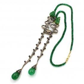 Emerald Diamond Jade Sapphire Necklace