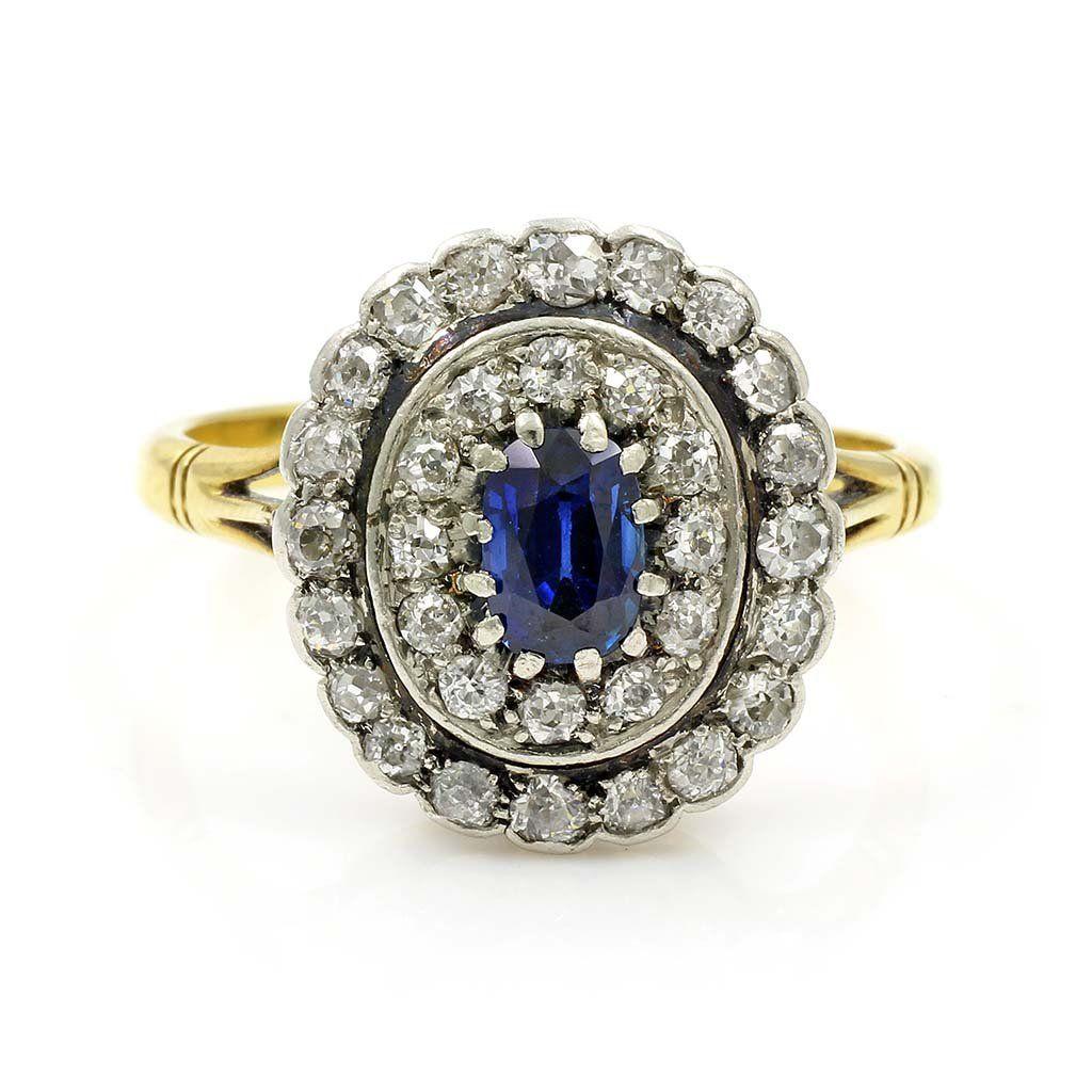 Old Mine Cut Diamond & Sapphire Gold Ring