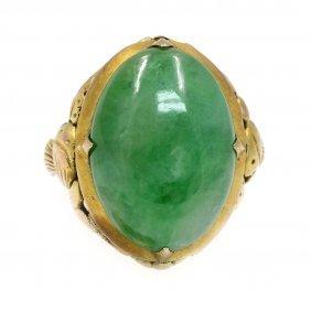 Jade In 14k Yellow Gold Ring