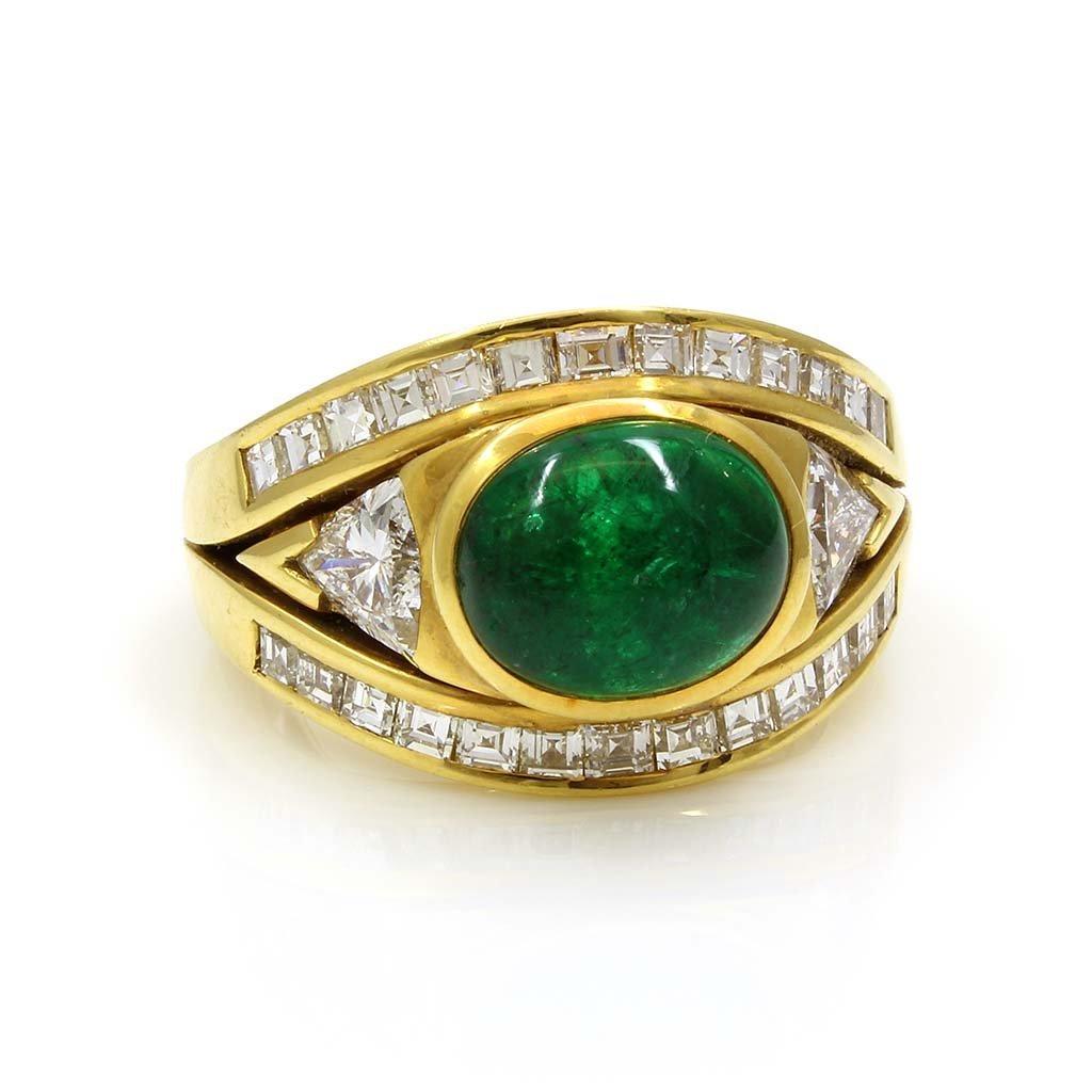 Cabochon Emerald Diamond 18k Gold Ring