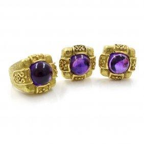 Katy Briscoe Amethyst 18k Gold Ring & Ear Clips Set