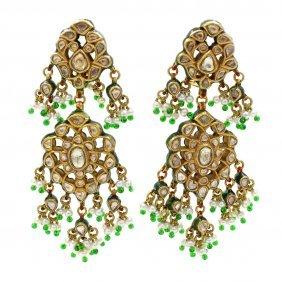 Rose Cut Diamond Indian Earrings