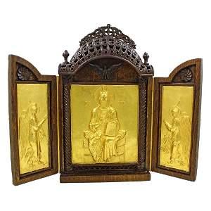 22k Gold Greek Orthodox Triptych