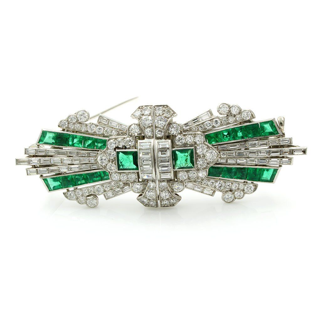 Art Deco Emerald Diamond Platinum Brooch