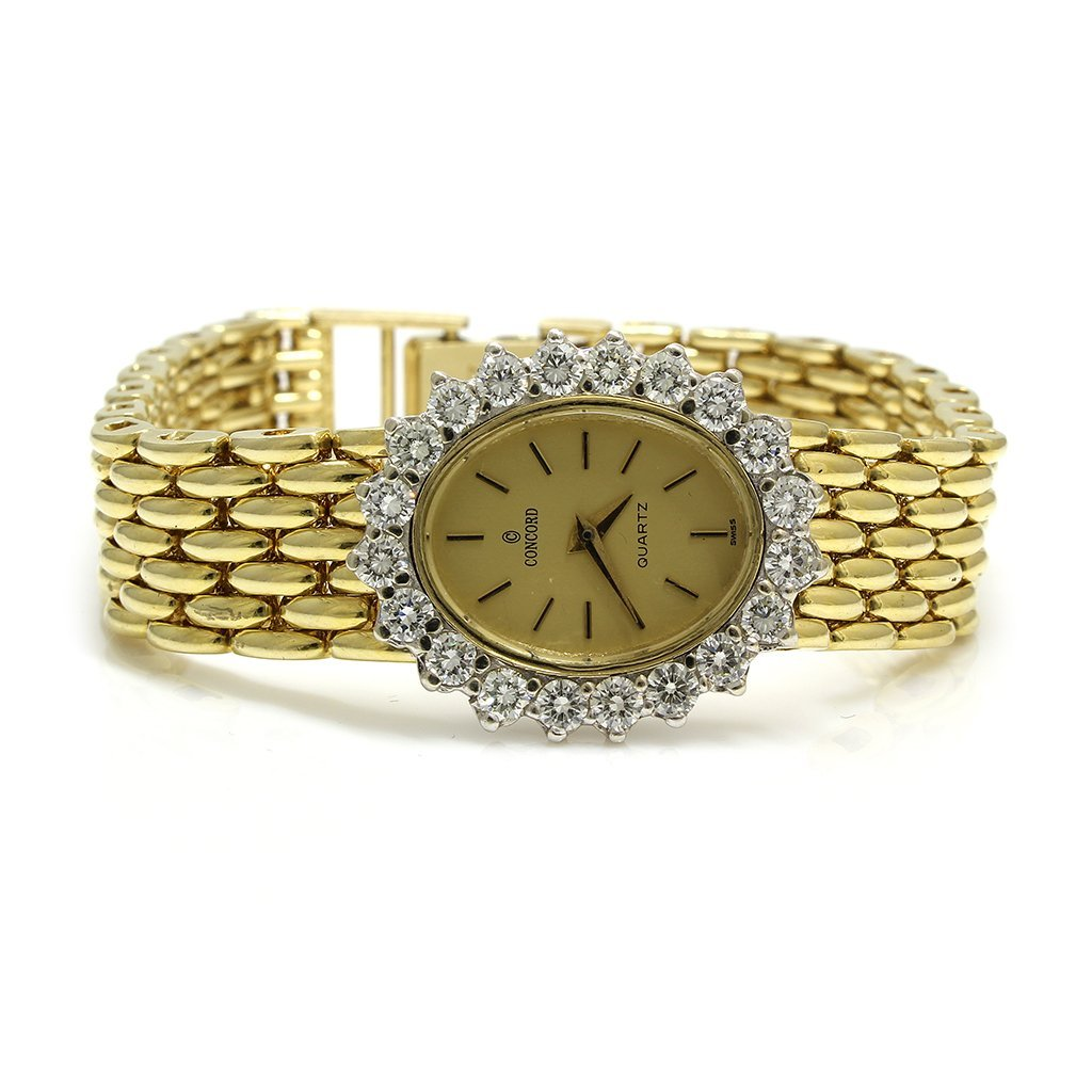 Concord Diamond 14k Solid Gold Quartz Watch, Swiss