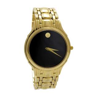 Movado 14k Solid Gold Quartz Men's Watch, Swiss