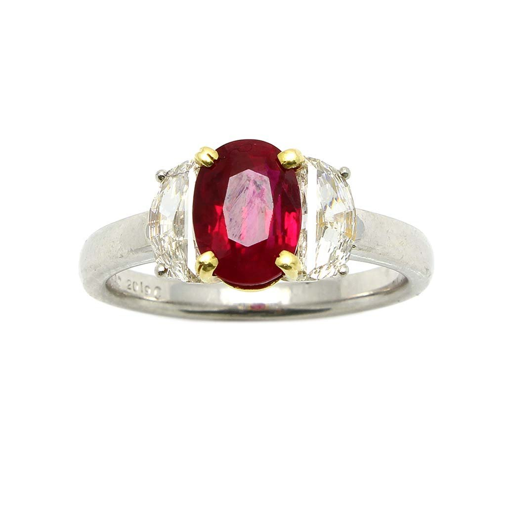 Burma Ruby,  Diamond Platinum 18k Gold Three Stone Ring