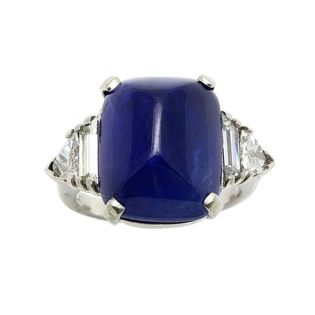 Burma Cabochon Natural Sapphire, Diamond Platinum Ring