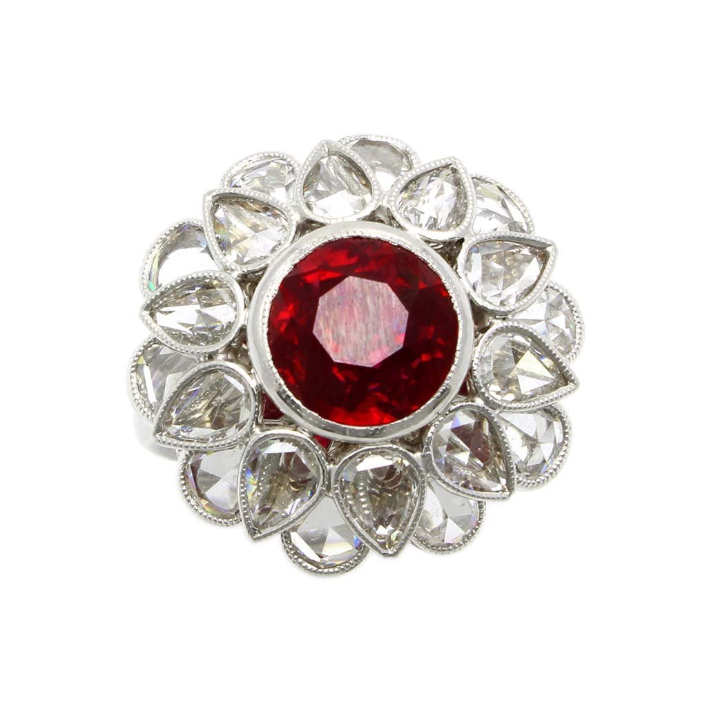 Burma Ruby and Diamond Platinum Flower Ring