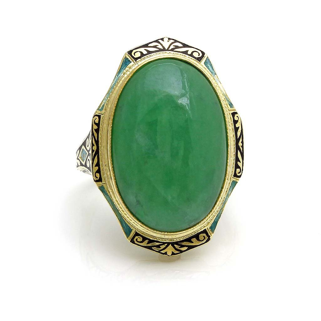 Cabochon Jadeite and Enamel in 14k Gold Ring