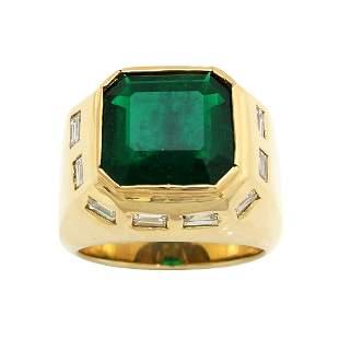Colombian Emerald Diamond 18k Gold Men's Ring