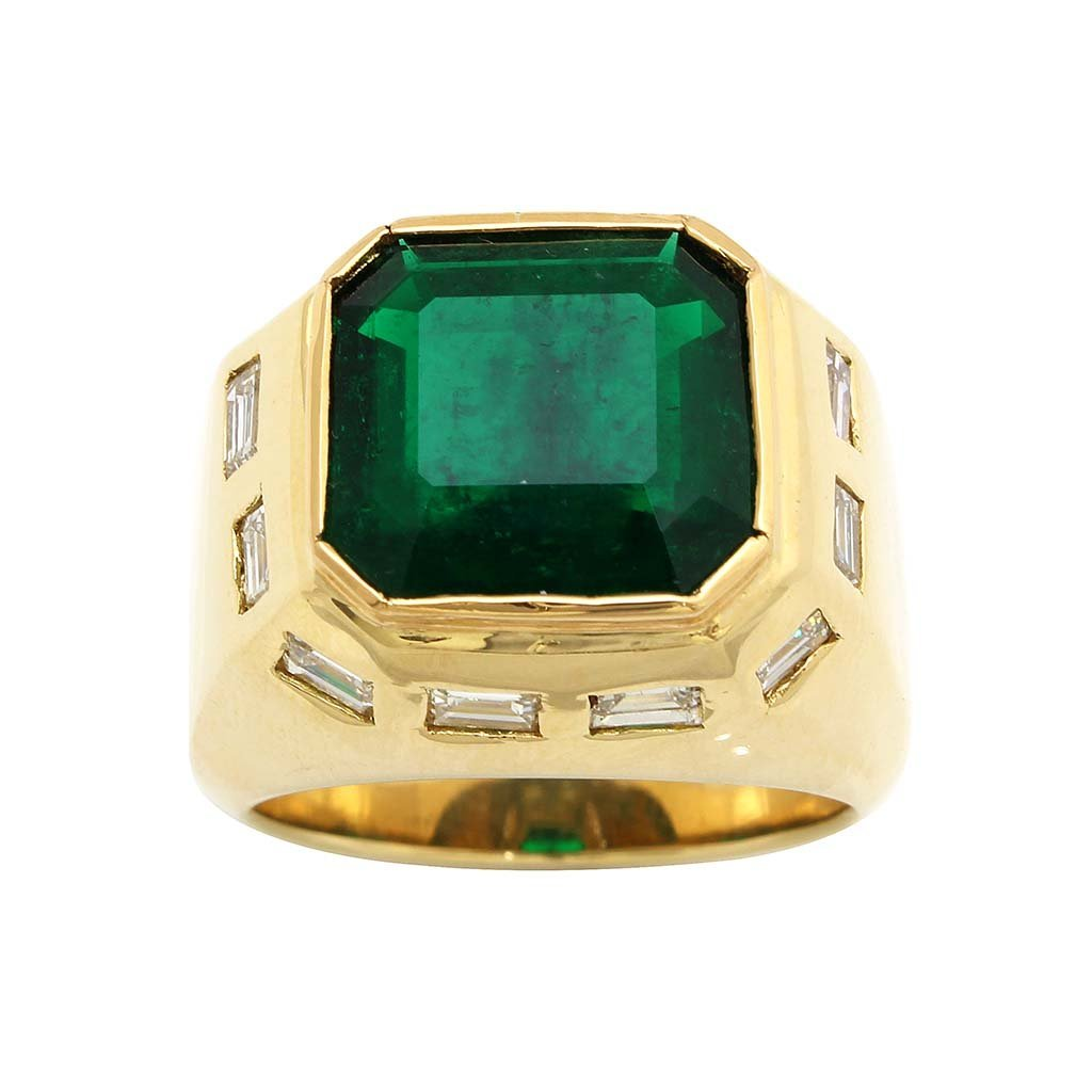 Colombian Emerald Diamond 18k Gold Men's Ring