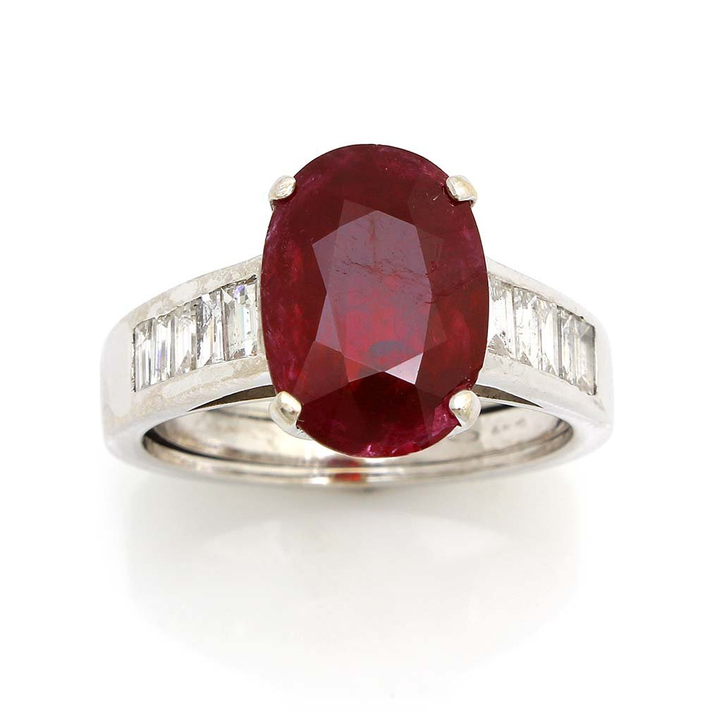 Natural Burma Ruby and Diamond Ring with Gubelin