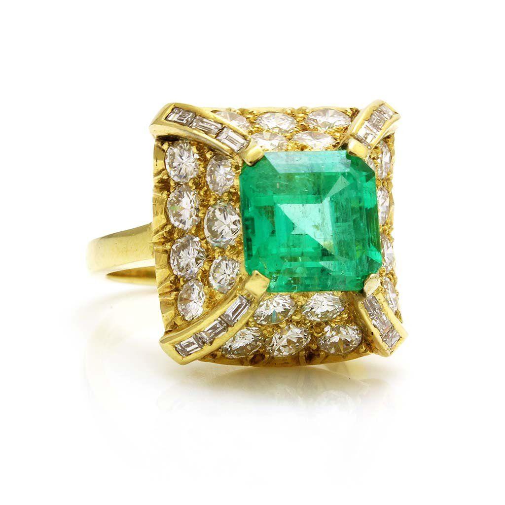 Emerald Diamond 18k Gold Ring