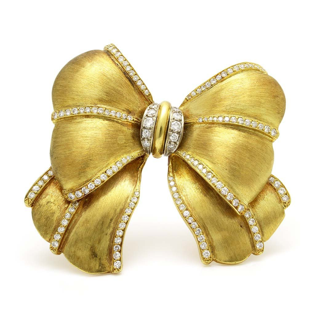 Very Heavy 18k Gold Diamond Bow Pin Brooch