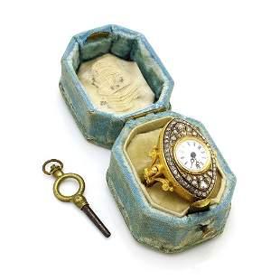 Antique Diamond 18K Gold Swivel Finger Ring Watch