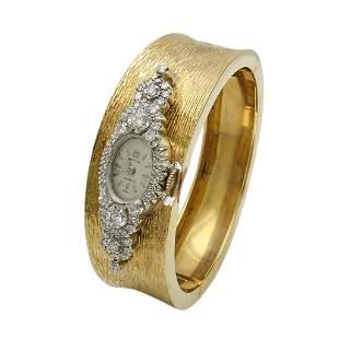 Croton Diamond 14K Gold Bangle Watch, Swiss