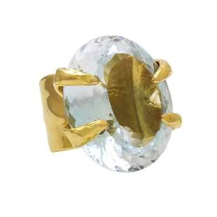111 cts Aquamarine 18K Gold Cocktail Ring