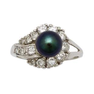 Black Pearl Diamond 14K White Gold Ring