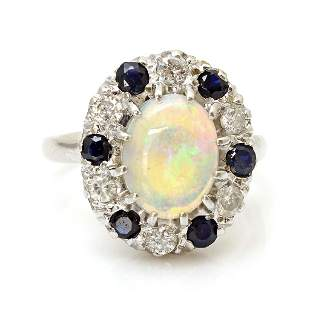 Opal Diamond Sapphire 14k White Gold Ring