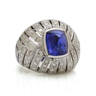 Cabochon Sapphire Diamond 18K Gold Dome Ring