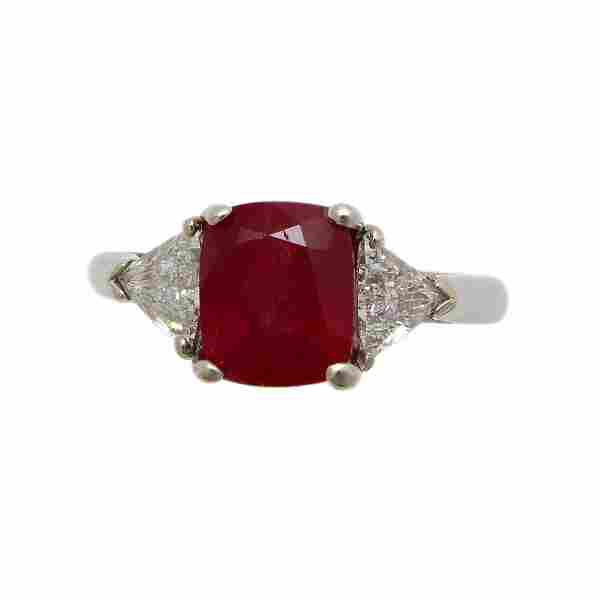 3.38 cts AIGS Cert Natural Ruby Diamond Platinum Ring
