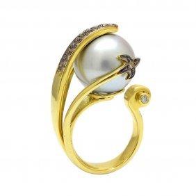 Pearl Diamond 18k Gold Ring